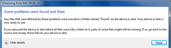 check disk message some problems were fond and fixed
