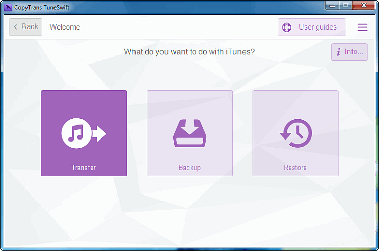 transfer button in copytrans tuneswift