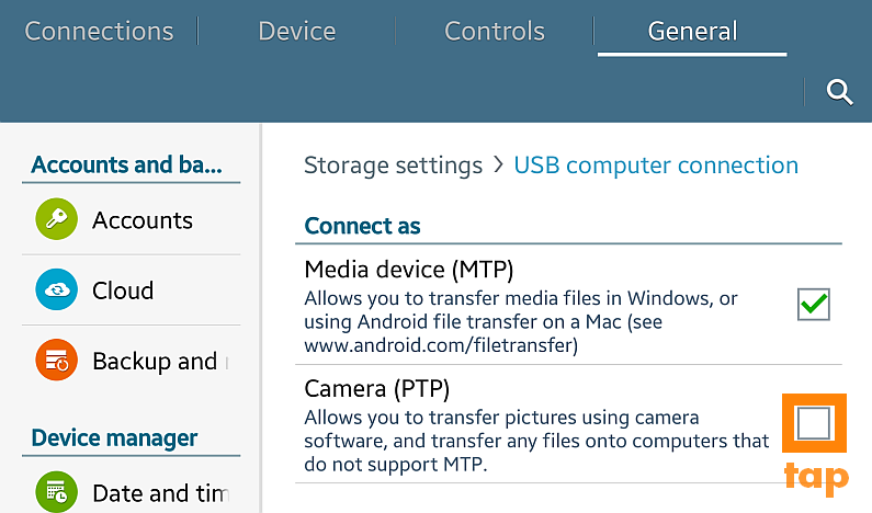 android usb connection camera mode