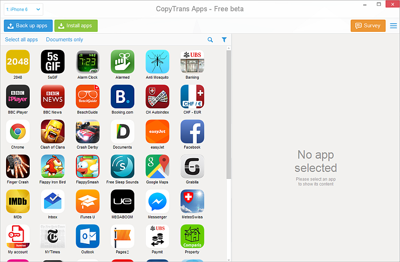 main copytrans apps window displaying ipad apps