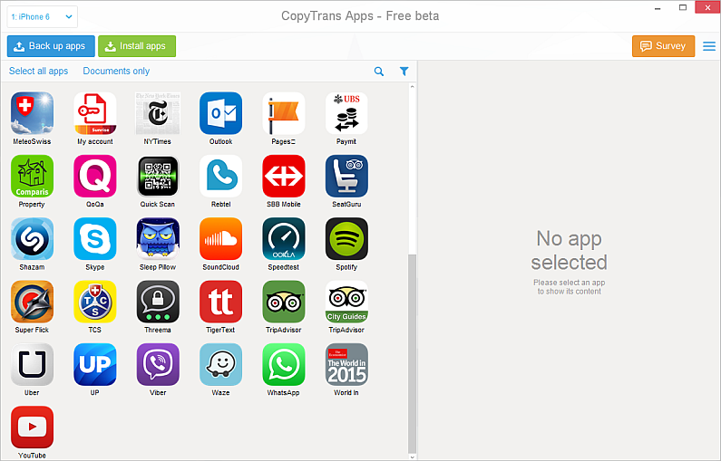 copytrans apps window on pc with iphone app list