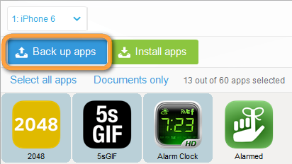 copytrans apps with backup app button selected