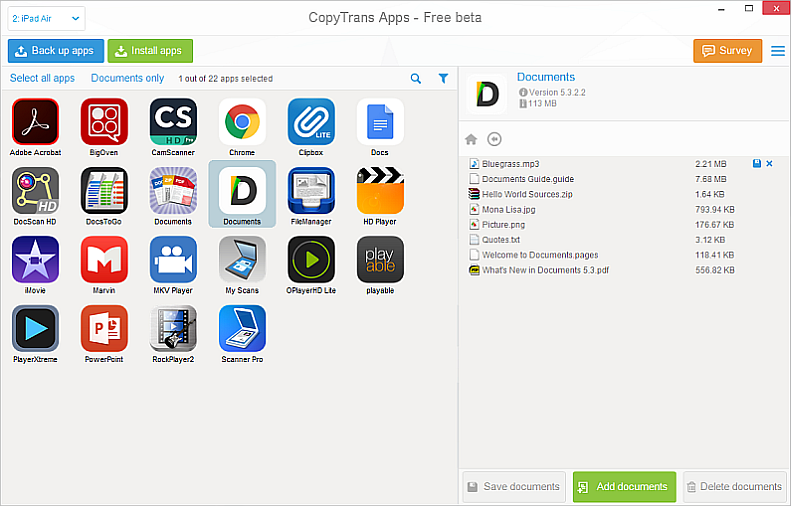 copytrans apps main window