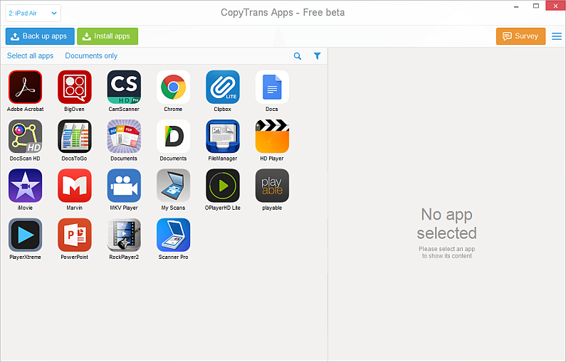 copytrans apps main window with list of iphone apps