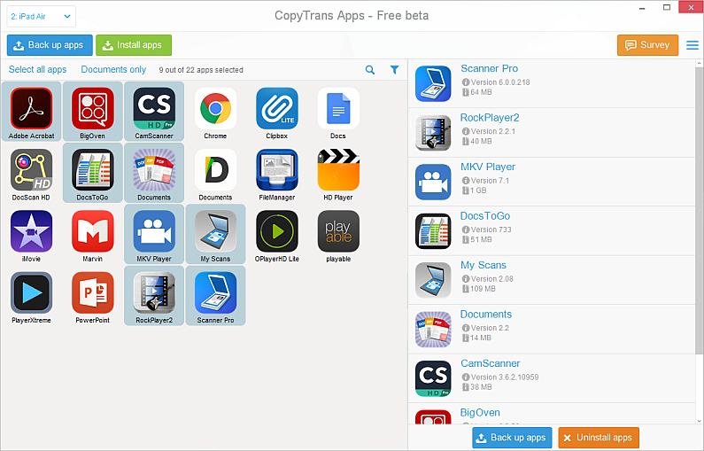 select iphone apps in main copytrans apps window