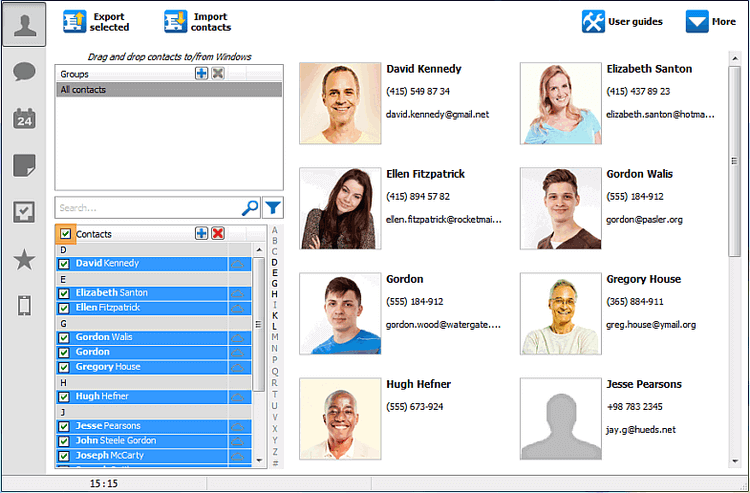iCloud contacts selected in CopyTrans Contacts