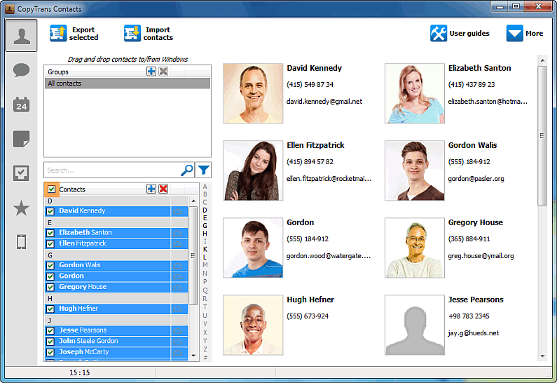 contacts selection in copytrans contacts
