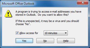 outlook access prompt