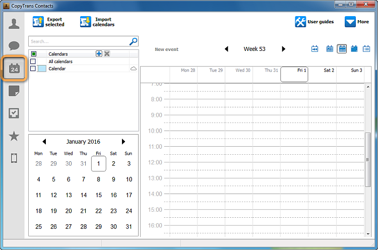 main copytrans contacts window in calendar view