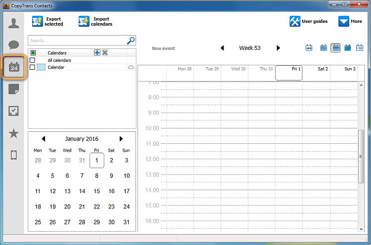 main copytrans contacts window in calendar view