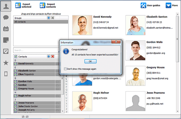 Contacts successfully exported message