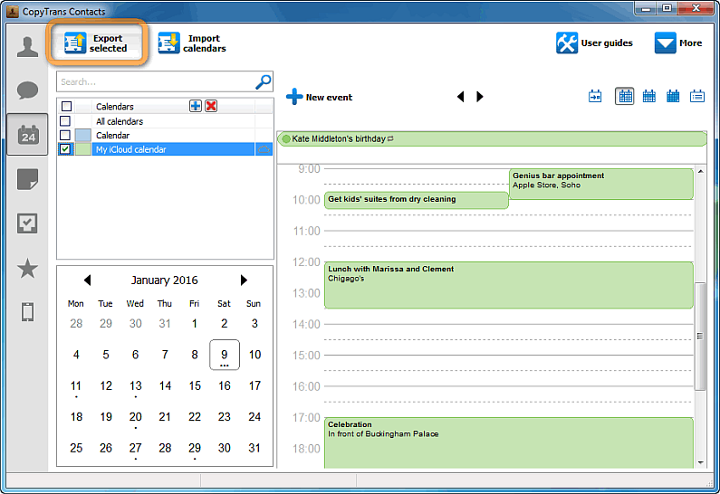 icloud calendar visible in copytrans contacts window