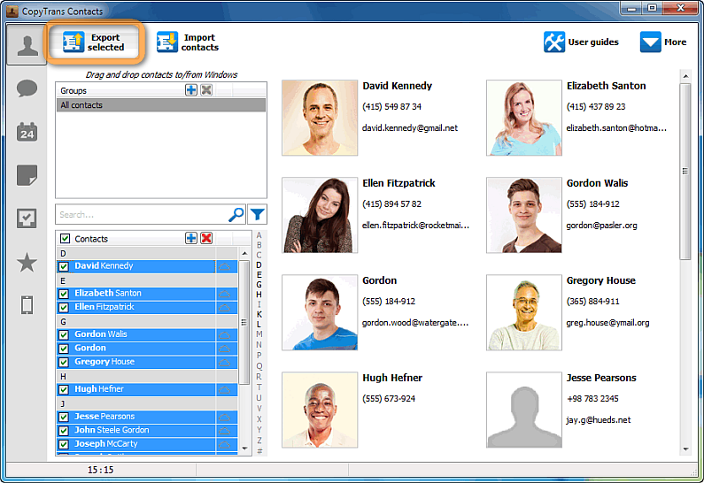 export selected button in copytrans contacts main window