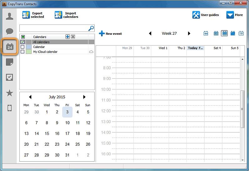 main copytrans contacts window calendars