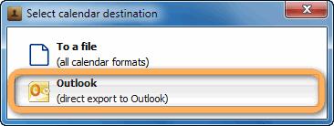 popup to select calendar destination