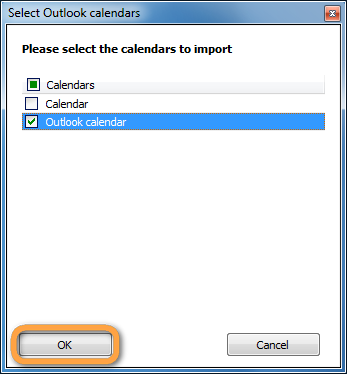 popup to select outlook calendar