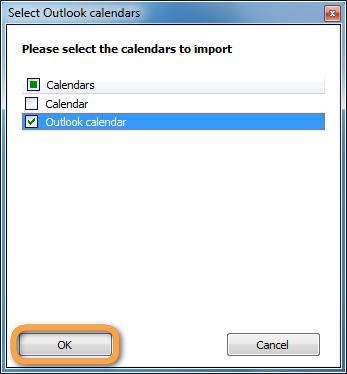 popup to select outlook calendar