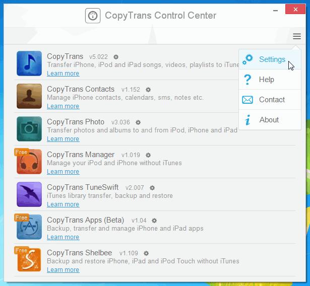 copytrans control center access settings