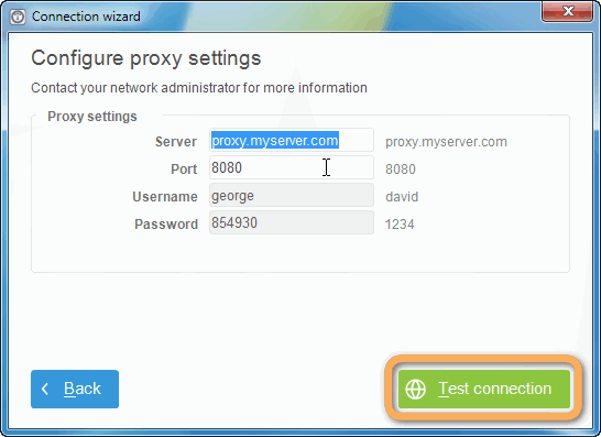 proxy settings window in copytrans control center