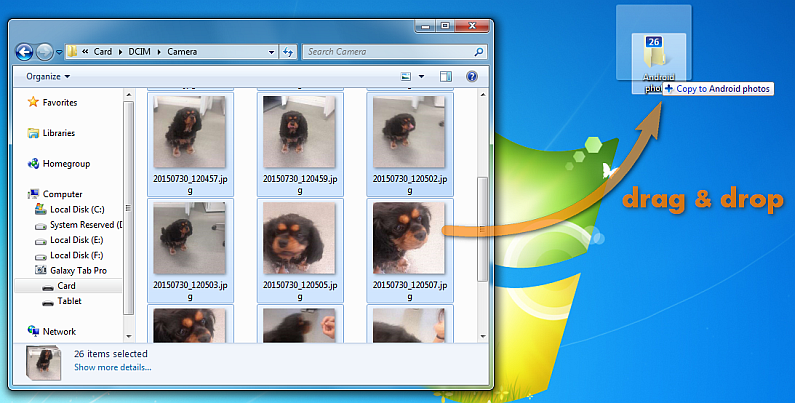 drag drop photos from android to pc desktop