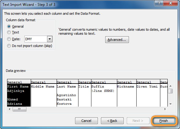 excel text import wizard complete