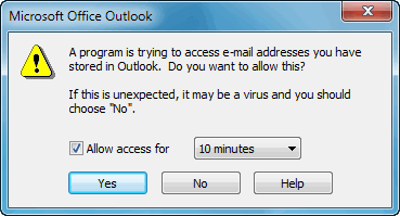 outlook access prompt window