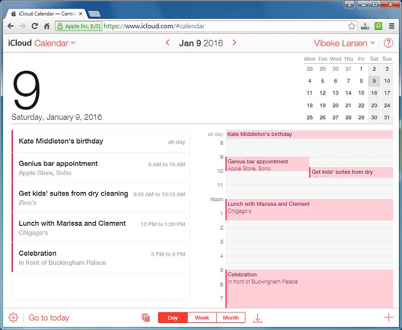oultook calendar displayed in icloud
