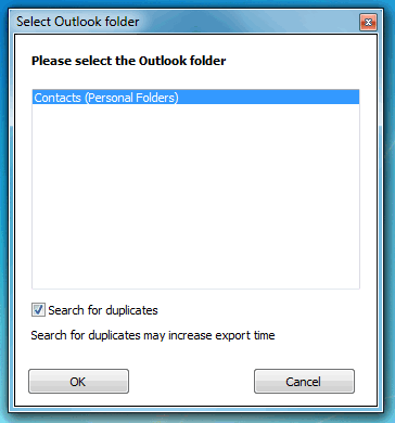 popup displaying outlook contacts folder