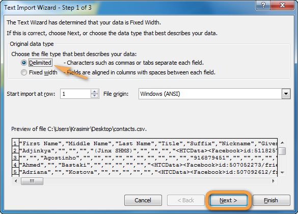 text import wizard in excel 1st step delimited