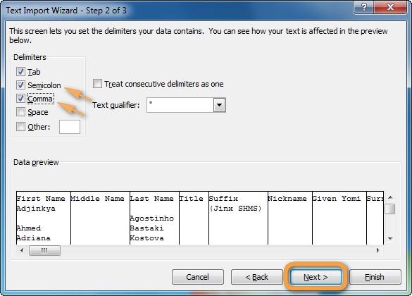 text import wizard in excel