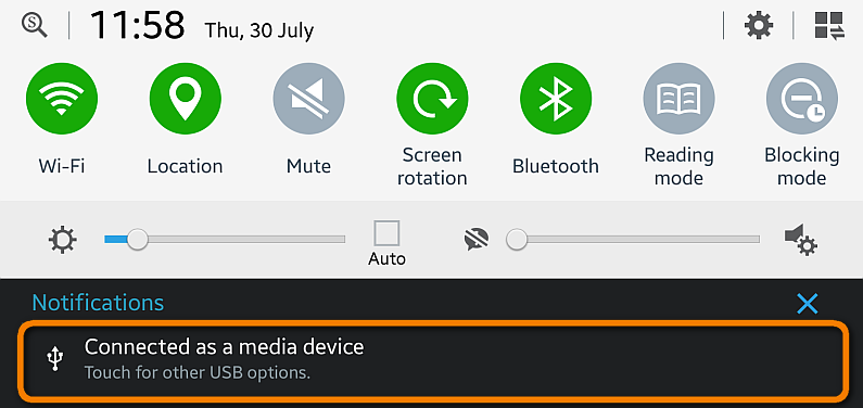 android notification center change usb connection type