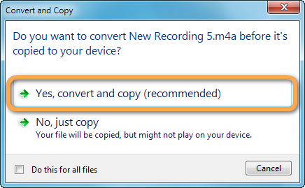 do you want to convert file before it's copied to your device