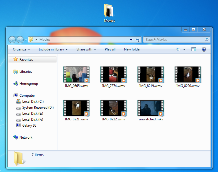 android movie files in windows explorer