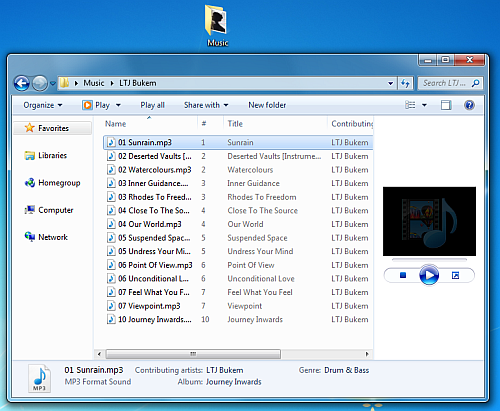 mp3 tracks in windows explorer