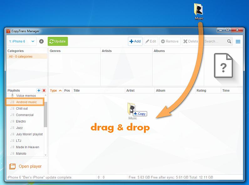 drag and drop music folder to main program window
