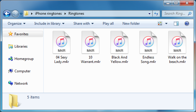 ringtone files in m4r format on windows pc