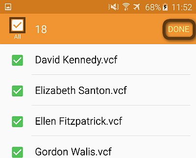 contacts from iphone to galaxy s6 via vcard