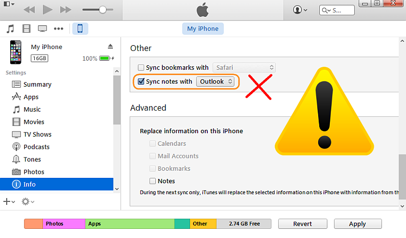 itunes showing notes sync to outlook option