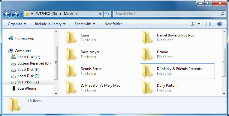 iphone music in windows explorer window