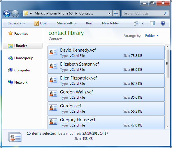 vcard contact files on windows pc