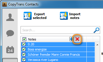 red x button in copytrans contacts