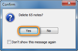 delete notes prompt