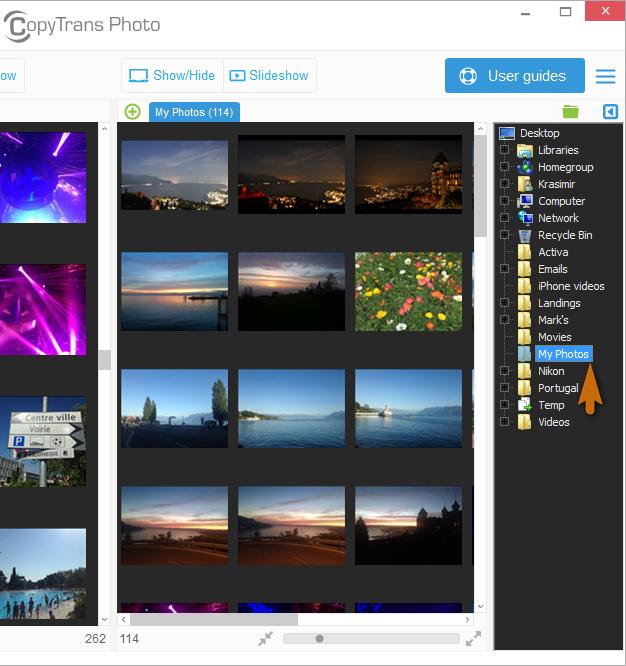 pc photos in main copytrans photo window