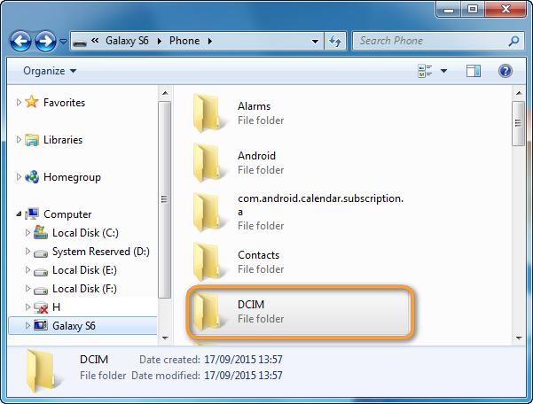 dcim photo folder on samsung galaxy s6