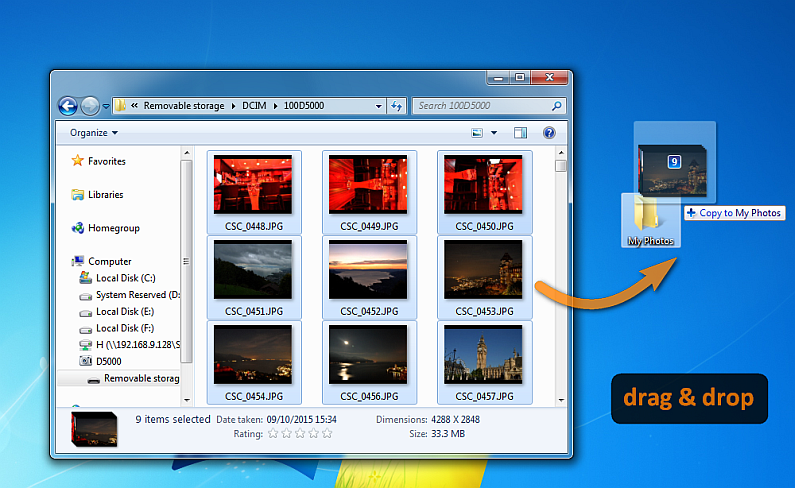 drag and drop photos from DSLR camera to PC folder on Desktop
