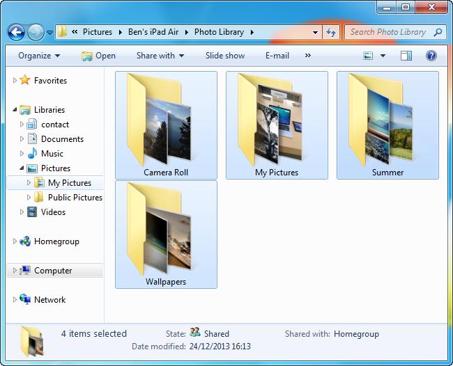 photo backup folder on pc