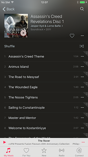 music app showing assassin's creed soundtrack album on iphone