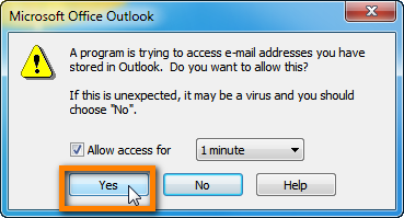 grant access to outlook