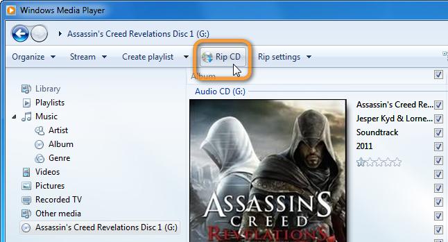 rip cd button in wmp