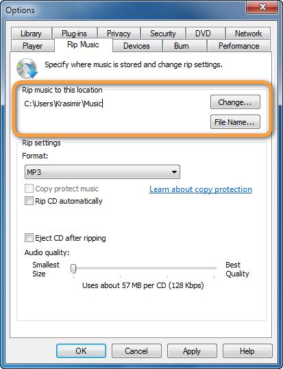 windows media player cd rip popup folder location